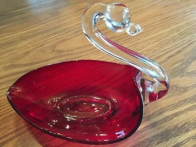 Ruby Red Swan Glass Dish Clear Neck & Head Unmarked