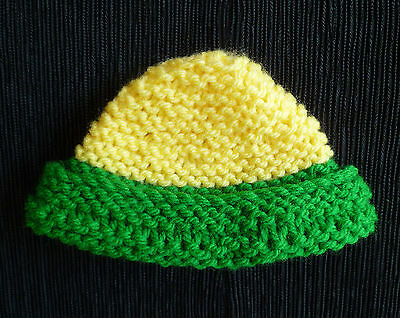 Baby clothes BOY GIRL 3-6m hand knitted soft chunky yellow/green hat SEE SHOP!