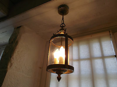 French circular lantern glass bronze perfect to hall way exquisite 3 light