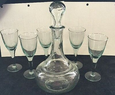 Vintage Clear Mint Green Decanter And Wine Glasses Handblown
