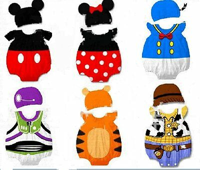 baby boys girls outfits 9-32 mnths cartoon character costumes with hats 6 design