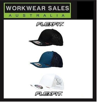Flexfit Truckers Cap Mesh Trucker Black White Navy Mens Women Unisex 6511  Fitted 9203b19d1