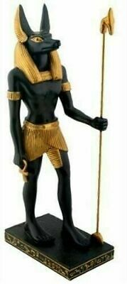 Ancient Egypt Gods & Deities Lord Anubis Standing Holding Staff Figurine Statue
