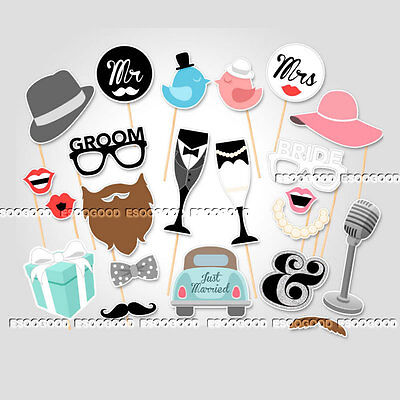 22 Wedding Photo Booth Props Hen Mustache on Stick Romantic Engagement Party