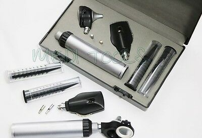 NEW FIBER Otoscope Ophthalmoscope Examination LED Diagnostic ENT SET Kit +2 BULB