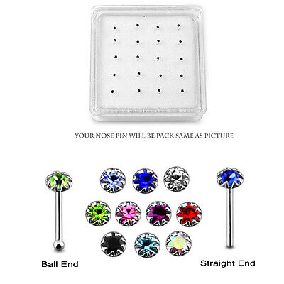 20 Pcs box 925 Sterling Silver 2 mm CZ in Flower Setting Top Nose Stud Piercing