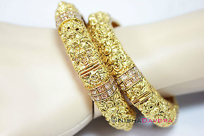 Pair Bangle Indian Gold Ornate Screw Open