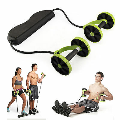 Abs Abdominal Exercise Wheel Gym Fitness Body Strength Training Roller Green