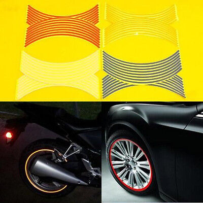 6 color Reflective Motorcycle Car RIM Stripe Wheel Decal Tape Sticker 16 Strips