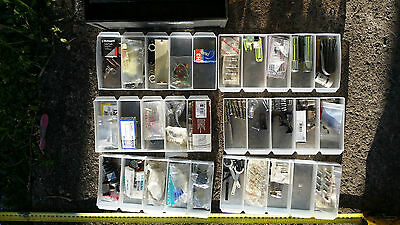 assorted electrical parts and bulbs in 6 multi compartments drawers organiser