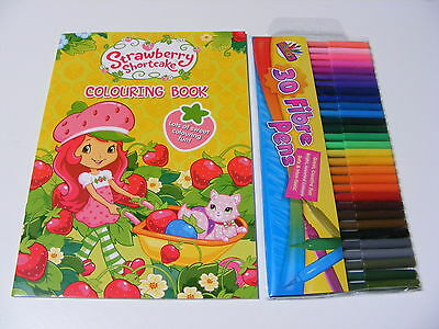 Niños Infantil Strawberry Shortcake Para Colorear Libro + 30 Plumas De