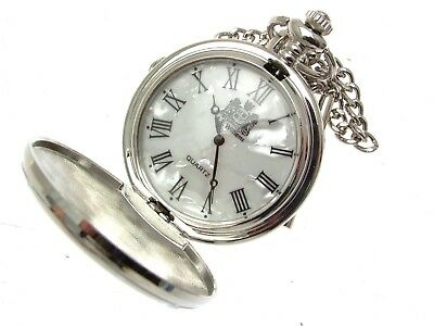 Mens Pocket Watch Quartz Movement Mother Of Pearl Face Many Designs - List A