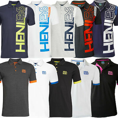 Henleys Mens Polo Shirt Casual Collared Pique Designer Top Short Sleeve T-Shirt