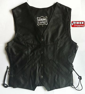 2Fit Womens Leather Motorbike Waistcoat Ladies Fashion Biker Vest Laced Sided