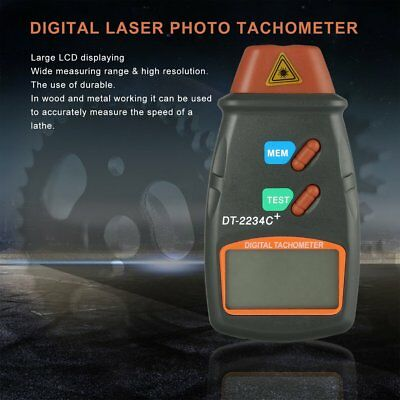 Digital Laser Tachometer Engine RPM Contact Non Photo Speed Motor Gauge LCD FT7