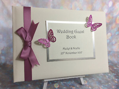 Personalised Glitter Butterfly Wedding Guest Book  / Party / Christening