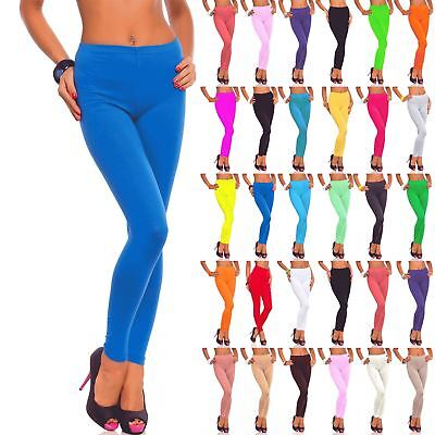 Womens Ladies Full Ankle Length Plain Basic Stretchy Trousers Pants Leggings