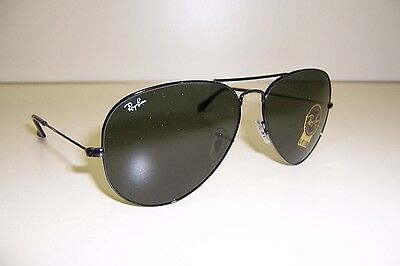 37a6574bc2 NEW RAY BAN Sunglasses 3026 L2821 BLACK GREEN Aviator Authentic ...