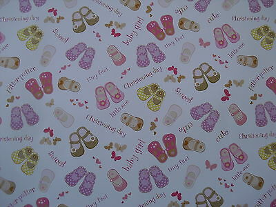 2 Sheets Of Baby Girl Christening Wrapping Paper