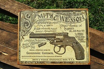 Smith & Wesson Tin Metal Sign - Revolver - Guns - Since 1852 - Safety Hammerless