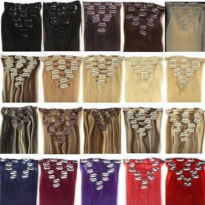 """7pcs 16"""" 18"""" 20"""" 22"""" Clip In Remy 100% Human Hair Extensions Full Head USPS"""