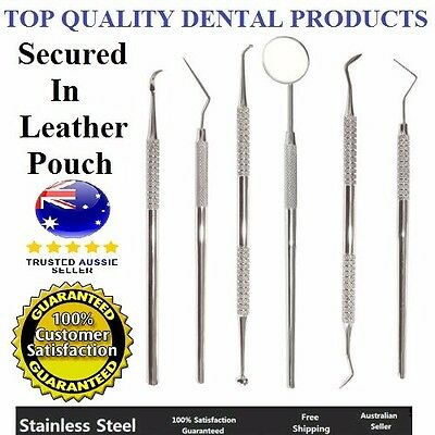 6pcs Stainless Steel Dentist Instruments Kit Mirror Scaler Pick Plaque Remover