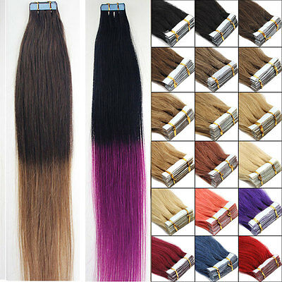 20 Extensions Tape Bandes Adhesives Cheveux 100% Naturels Remy Hair 40Cm 30G