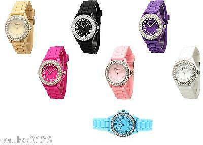 Ladies Easy to Read, Silicone - Rubber Fashion Watch Choice of Colours By Geneva
