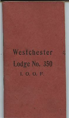 Old 1908 Westchester Lodge No..350 By-Laws Booklet Odd Fellows