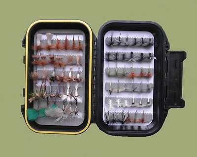 65 Dry Trout Flies, Suitable for River fly fishing, mix of types & sizes. Listed