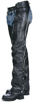Classic Motorcycle Horse Ride Western Unisex Cowhide Leather Chaps Mens Womens