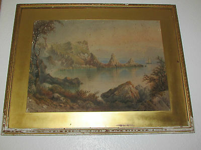 Very Large Antique Watercolour Painting Signed By C. W. Den - 1878
