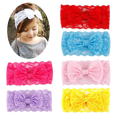 7 Pcs Girl Baby Toddler Flower  Bowknot Crown Elastic Headband Hair Accessories