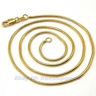 """3pcs Wholesale 17.7""""1mm5g REAL CLASSIC 18K YELLOW GOLD GP SNAKE NECKLACE SOLID"""