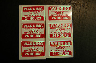 6 x 24 hour SECURITY video SURVEILLANCE camera DECAL STICKER property home CCTV