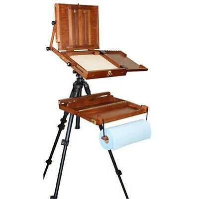 Portable Wooden Artist Painting Pochade Box Case Art Paint Supply Easel Easle