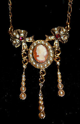 Alcozer & J signed Italian Victorian style shell cameo seed pearl necklace gold