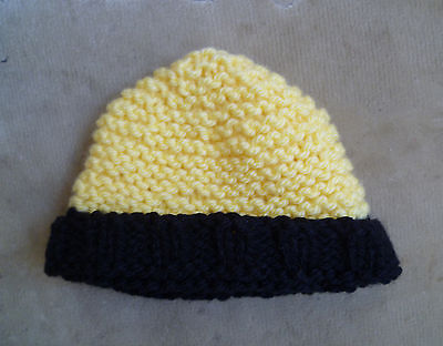 Baby clothes  BOY GIRL 3-6m yellow/black hand knitted hat  COMBINE POSTAGE