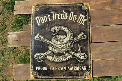 Don't Tread On Me Tin Metal Sign - Proud to Be an American - Gadsden Flag - USA
