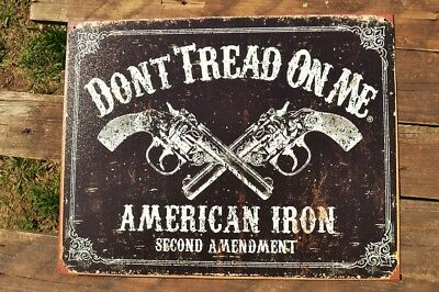 Don't Tread On Me Tin Metal Sign - 2nd Second Amendment - Smith & Wesson - Retro