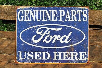 Genuine Ford Parts Used Here Tin Metal Sign - Dealer - Trucks - Mustang - Retro