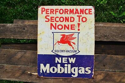 Mobilgas Tin Metal Sign - Mobil - Socony-Vacuum Oil Company - Gas - Pegasus