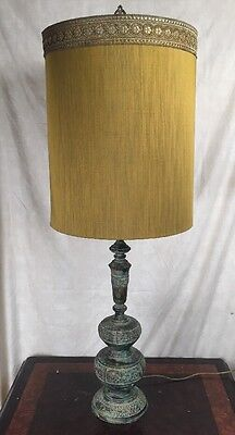 Huge Oriental Asian inspired ORNATE HEAVY Patina brass table lamp AND SHADE!!