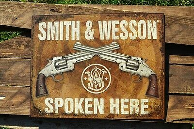 Smith & Wesson Spoken Here Tin Metal Sign - M1869 Schofield Revolver - Retro