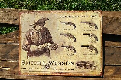 Smith & Wesson Standard Tin Metal Sign - Guns - Revolvers - Safety Hammerless