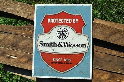 Protected By Smith & Wesson 1852 Tin Metal Sign - Rifles - Revolvers - Retro