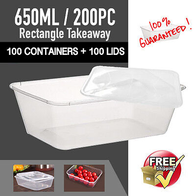 Take Away Containers 100Pc + Lids 100Pc 650Ml Disposable Plastic Food Containers