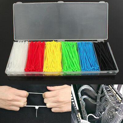 900pcs 1 Box 6 Color 100mmx2mm Self Locking Nylon Wrap Cable Strap Wire Zip Ties