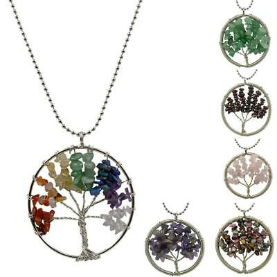 7 Chakra Tree Of Life Pendant Necklace Copper Crystal Natural Stone Necklace Pip