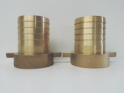 "NEW Hose Nut & Tail Brass 75mm 3"" (QTY 2) WITH LUG Fitting Barb Female BSP 80mm"